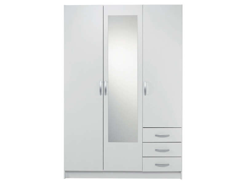 armoire 3 portes 3 tiroirs spot coloris blanc call2win. Black Bedroom Furniture Sets. Home Design Ideas