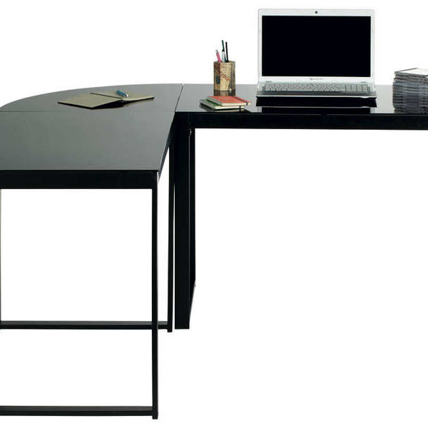 Bureau d angle blacky coloris noir call2win for Meuble d angle bureau noir