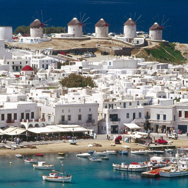 Aerial view and harbour. Mykonos. Cyclades. Greece